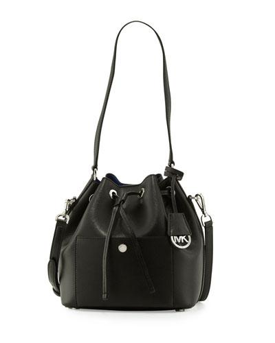 Greenwich Medium Bucket Bag, Black/Blue
