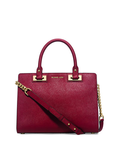 Quinn Medium Saffiano Satchel Bag, Cherry