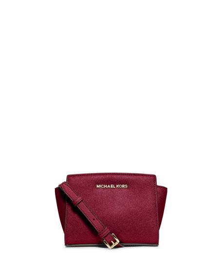 Selma Mini Saffiano Messenger Bag, Cherry