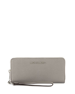 Jet Set Travel Continental Wallet, Pearl Gray