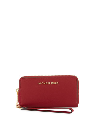 Jet Set Travel Saffiano Multifunction Tech Wristlet Wallet, Cherry