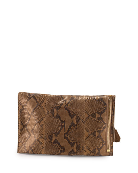 Alix Python Fold-Over Tote Bag