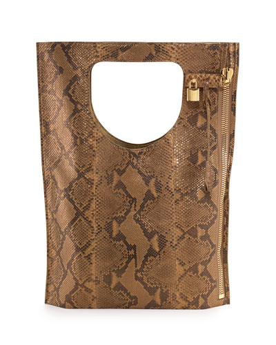 Alix Python Fold-Over Tote Bag, Gold