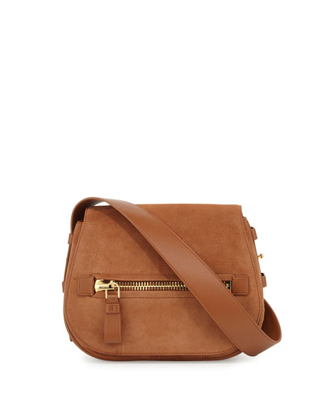 TOM FORD Jennifer Small Suede Saddle Bag, Tobacco