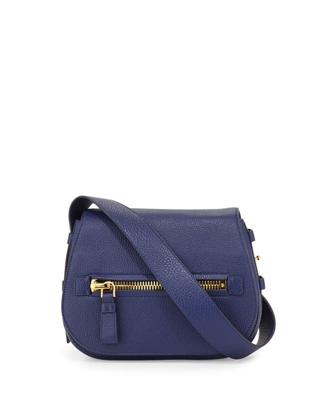 TOM FORD Jennifer Small Leather Shoulder Bag, Cobalt