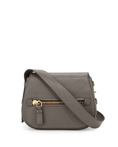 TOM FORD Jennifer Small Leather Shoulder Bag, Graphite