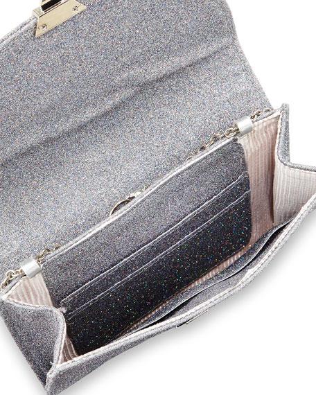 Piper Disco-Glitter Evening Clutch Bag, Pewter