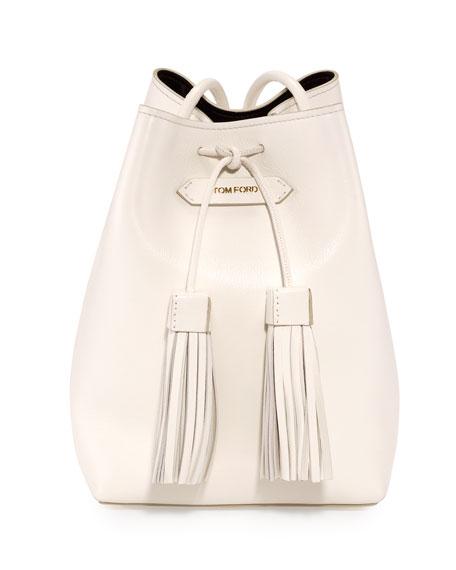 Leather Small Tassel Bucket Bag, White/Black
