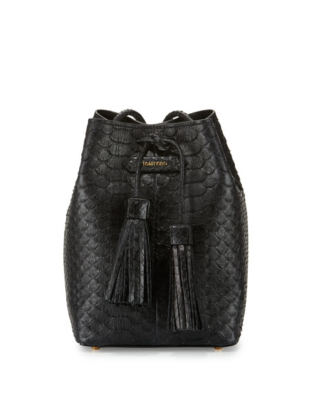 TOM FORD Small Python Tassel Bucket Bag, Black