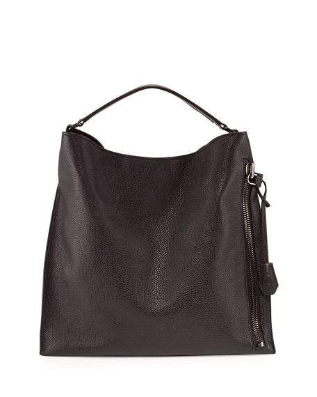 TOM FORD Alix Large Leather Hobo Bag, Black