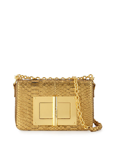 Natalia Medium Python Crossbody Bag, Gold