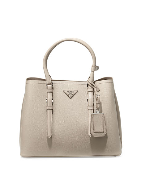 Prada Saffiano Cuir Covered-Strap Double Bag, Gray (Pomice)