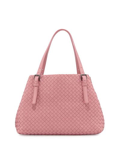 A-Shape Woven Tote Bag, Mallow Pink