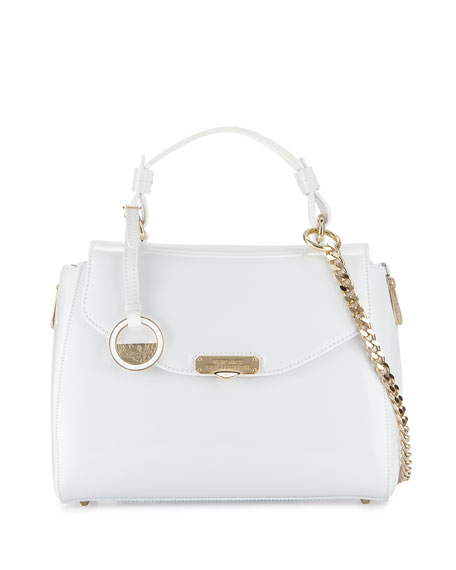 Versace Smooth Leather Satchel Bag, White