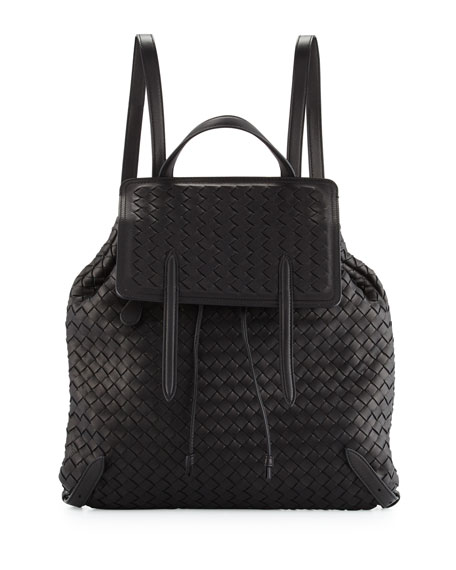 Bottega Veneta Intrecciato Medium Backpack, Black