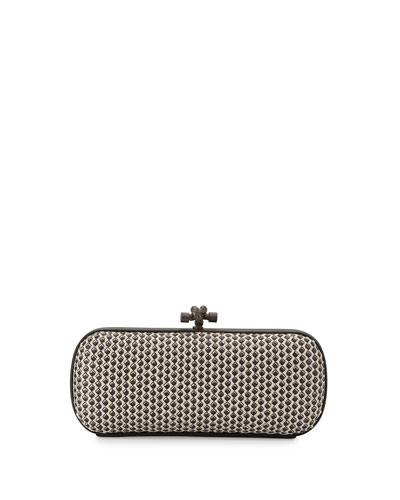 Small Stretch Knot Clutch Bag, Off White/Black