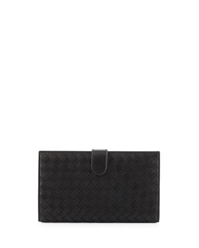 Intrecciato Lambskin Continental Wallet, Black