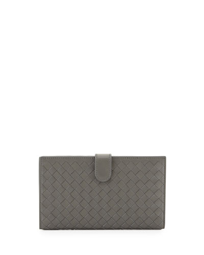 Intrecciato Lambskin Continental Wallet, Light Gray