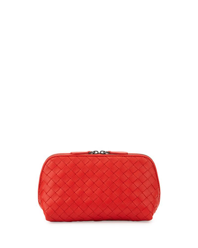 Medium Woven Lambskin Cosmetics Bag, Red