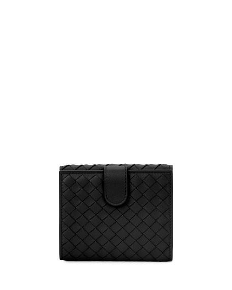 Intrecciato Mini Flap Wallet, Black