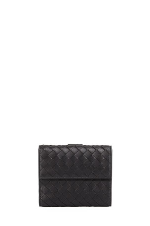 Bottega Veneta Intrecciato Mini Flap Wallet, Black