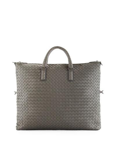 Medium Woven Convertible Tote Bag, Light Gray