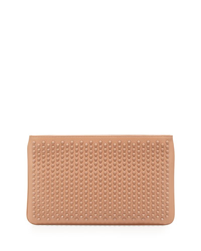 Loubiposh Spiked Clutch Bag, Nude