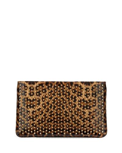 Loubiposh Glitter Clutch Bag, Leopard