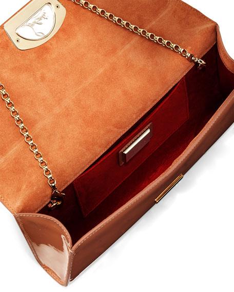 Vero Dodat Flap Patent Clutch Bag, Nude