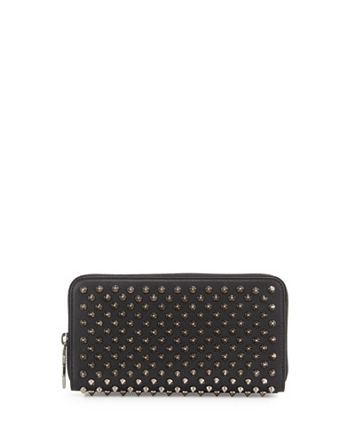 Panettone Spiked Zip Wallet, Black