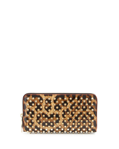 Christian Louboutin Panettone Spiked Leopard-Print Zip Wallet