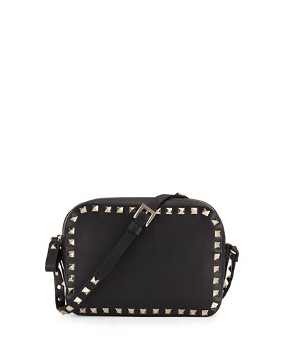 Rockstud Camera Small Leather Crossbody Bag, Black
