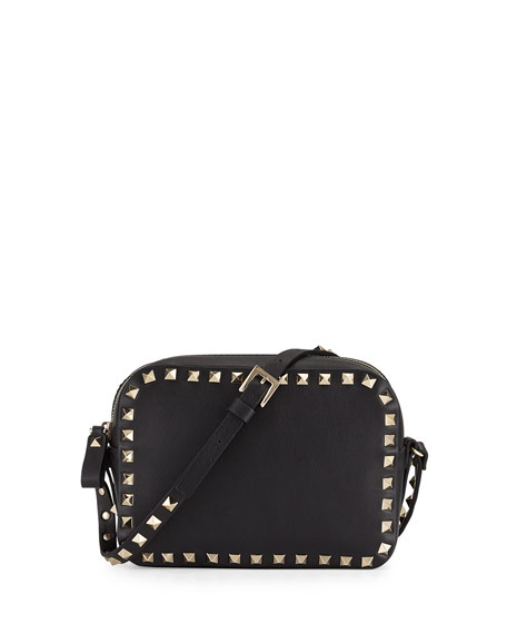Valentino Rockstud Camera Small Leather Crossbody Bag, Black