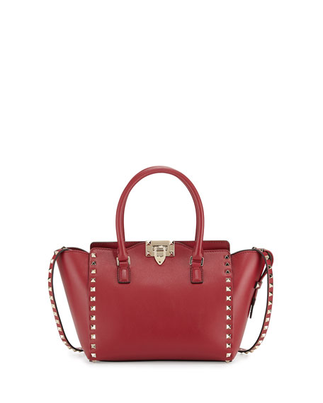 Valentino Rockstud Small Leather Shopper Tote Bag, Scarlet