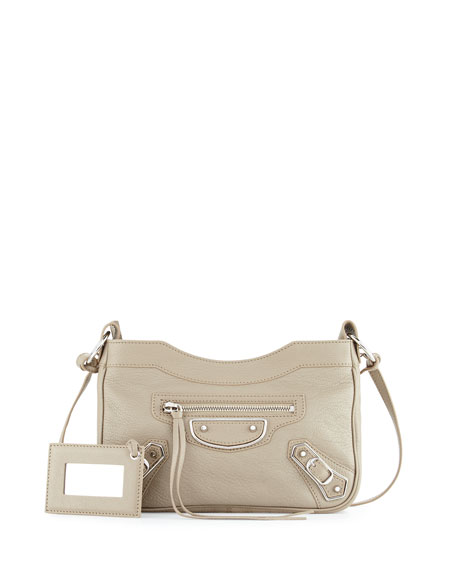 Balenciaga Metallic Edge AJ Crossbody Bag, Taupe