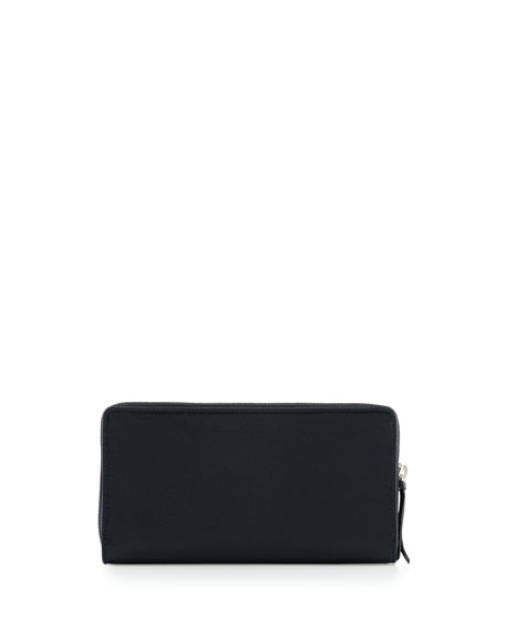 Metallic Edge Continental Zip-Around Wallet, Royal Blue