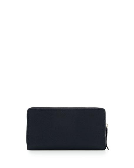 Metallic Edge Continental Zip-Around Wallet, Royal Blue