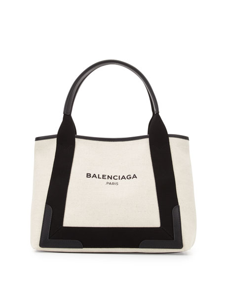 Balenciaga Navy Cabas Small Logo Tote Bag, Black/Natural