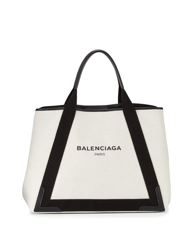 278019b443 Balenciaga Navy Cabas Medium Canvas Tote Bag