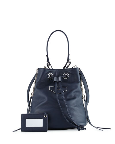 Papier Plate Extra-Small Side-Zip Bucket Bag, Royal Blue