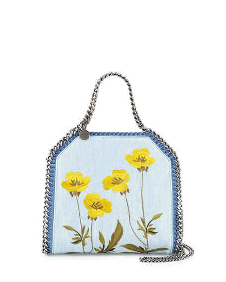 Falabella Denim Botanical Mini Tote, Denim