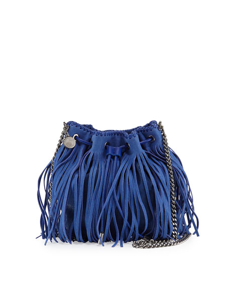 Stella McCartney Falabella Small Fringe Bucket Bag, Blue