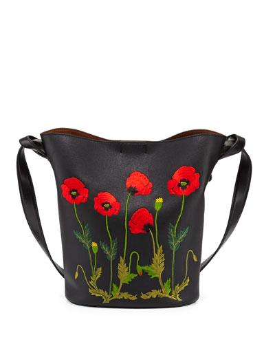 Flower-Embroidered Bucket Bag, Black