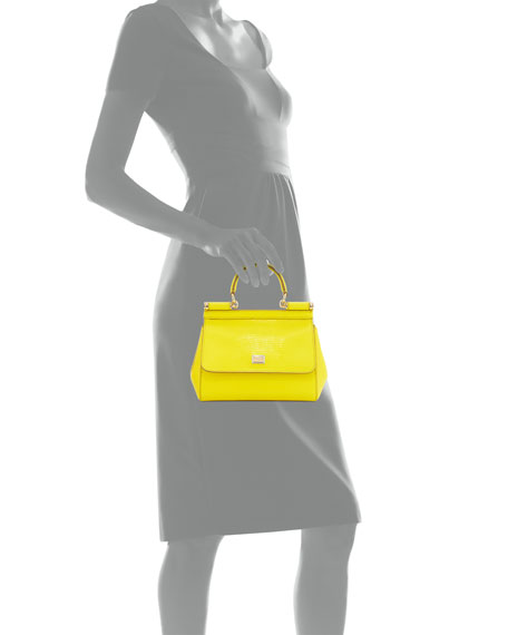 Miss Sicily Medium Lizard-Stamped Satchel Bag, Yellow