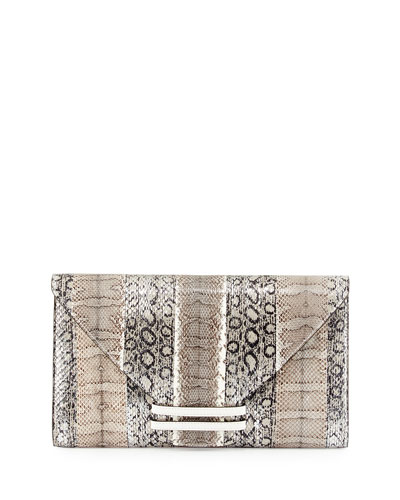 Connor 28 Snake & Ostrich Clutch Bag, Silver Multi