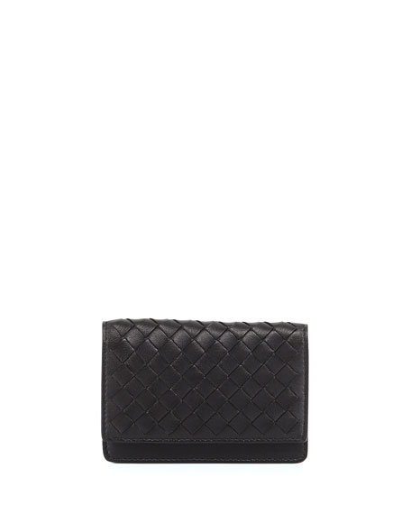 Woven Leather Flap-Style Credit Card Case, Black