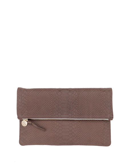 Clare V. Snake-Embossed Fold-Over Clutch Bag, Taupe