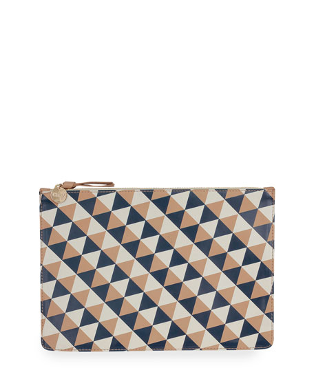 Margot Geo-Print Flat Clutch Bag, Camel/Navy/Cream
