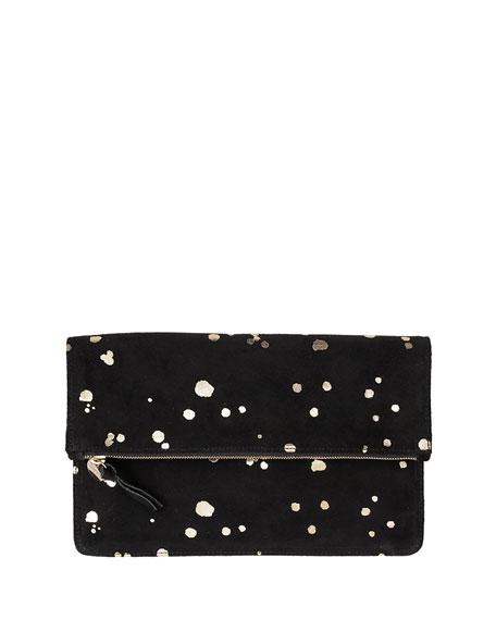 Clare V. Margot Fold-Over Printed Suede Clutch Bag, Black/Gold