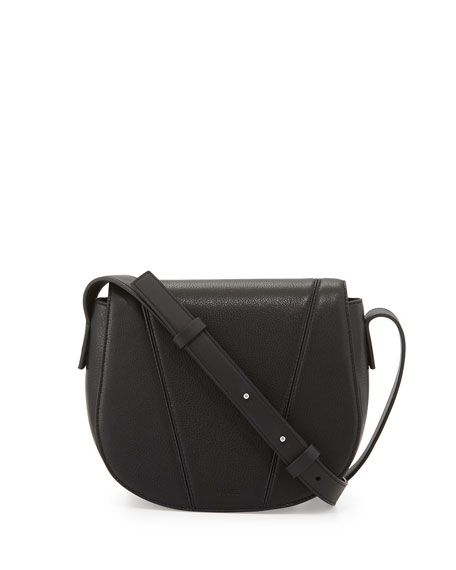 Vince Modern V Small Leather Crossbody Bag, Black